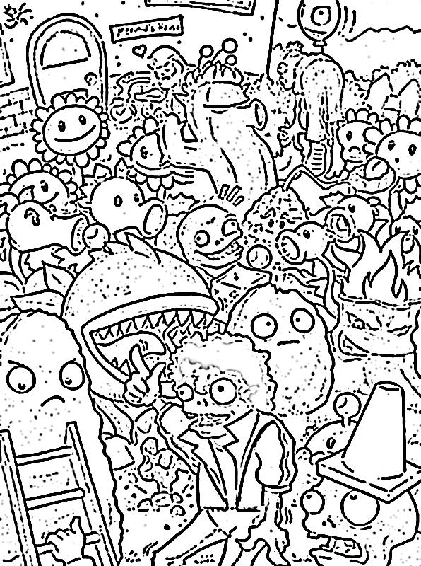 Gambar Mewarnai Plant Vs Zombie