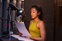 Actress Catherine Tresa Pos during Self Dubbing for Gautham Nanda Movie  0026.JPG