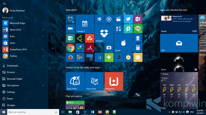 start screen di windows 10