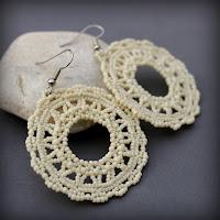 купить круглые кружевные ажурные сережки серьги из бисера