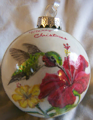 Hummingbird/Hibiscus Christmas Ornament
