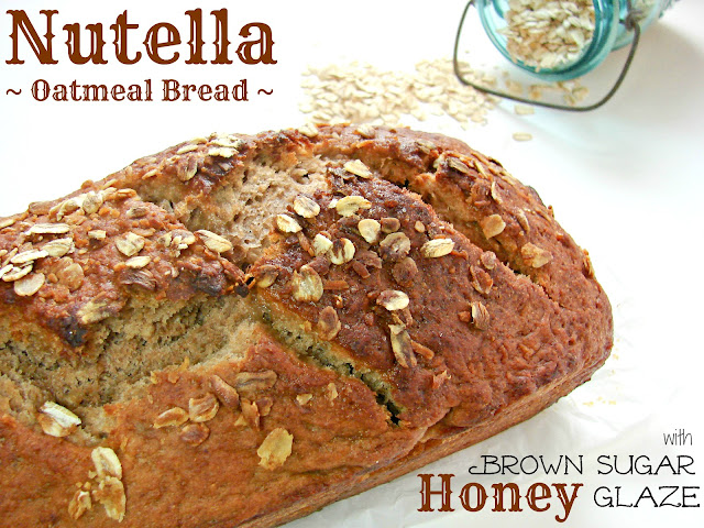 Nutella Oatmeal Bread with Brown Sugar Honey Glaze @KatrinasKitchen