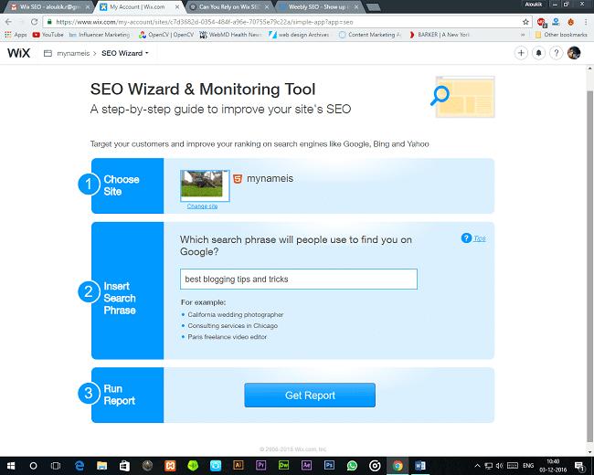 Wix SEO Get Report