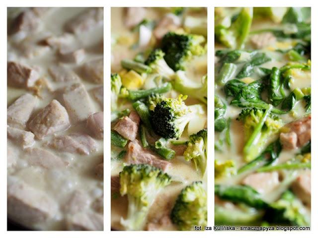 carry, kari, zielone curry, wieprzowina, schab wieprzowy, zielone warzywa, fasolka szparagowa, mrozonki, brukuły, szpinak, na rozgrzanie, kuchnia indyjska, co na obiad, szybki obiad, poltino, mleko kokosowe