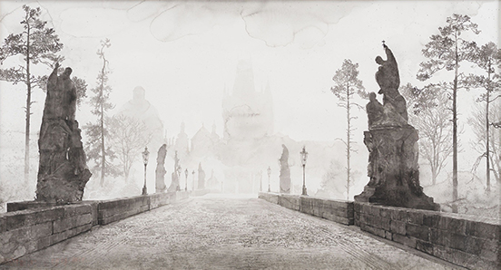 drawing Hans op de Beeck The Bridge, 2019 Black and white watercolor on Arches paper in wooden frame 111 x 200 x 4.4 cm