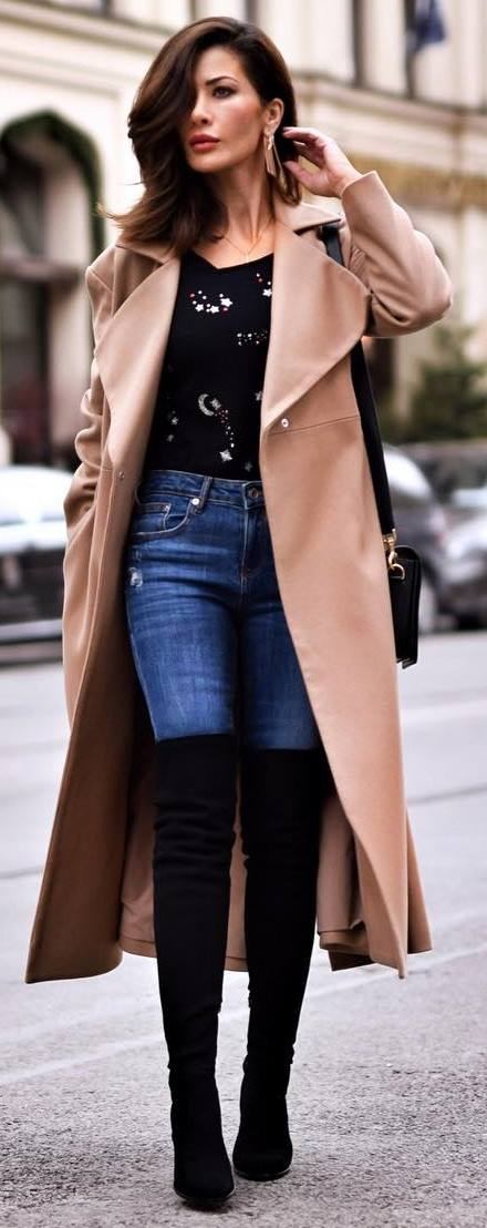 fashion trends / long coat + skinnies + bag + over knee boots + printed sweater