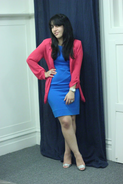 Hot Pink Blazer and Blue Bodycon Dress Outfit Inspiration