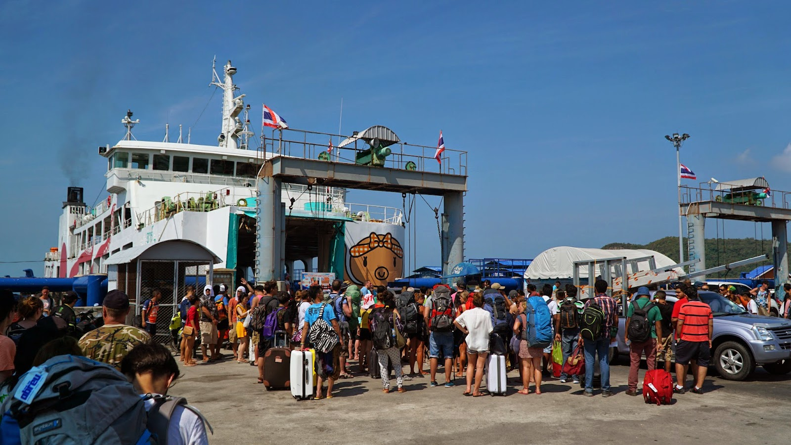 Queuing up at Thong Sala pier to get onto the ferry