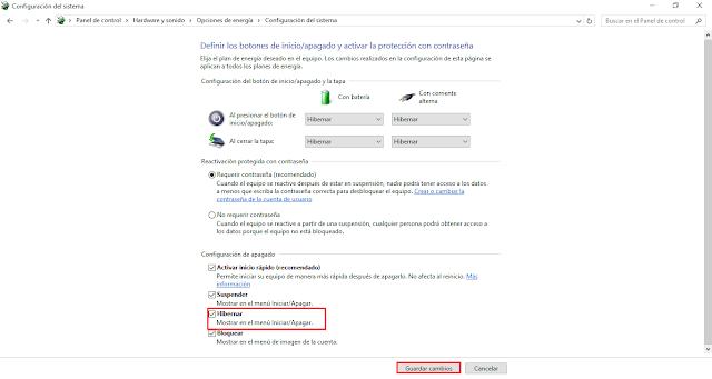 Habilitar el modo de hibernación en Windows 10