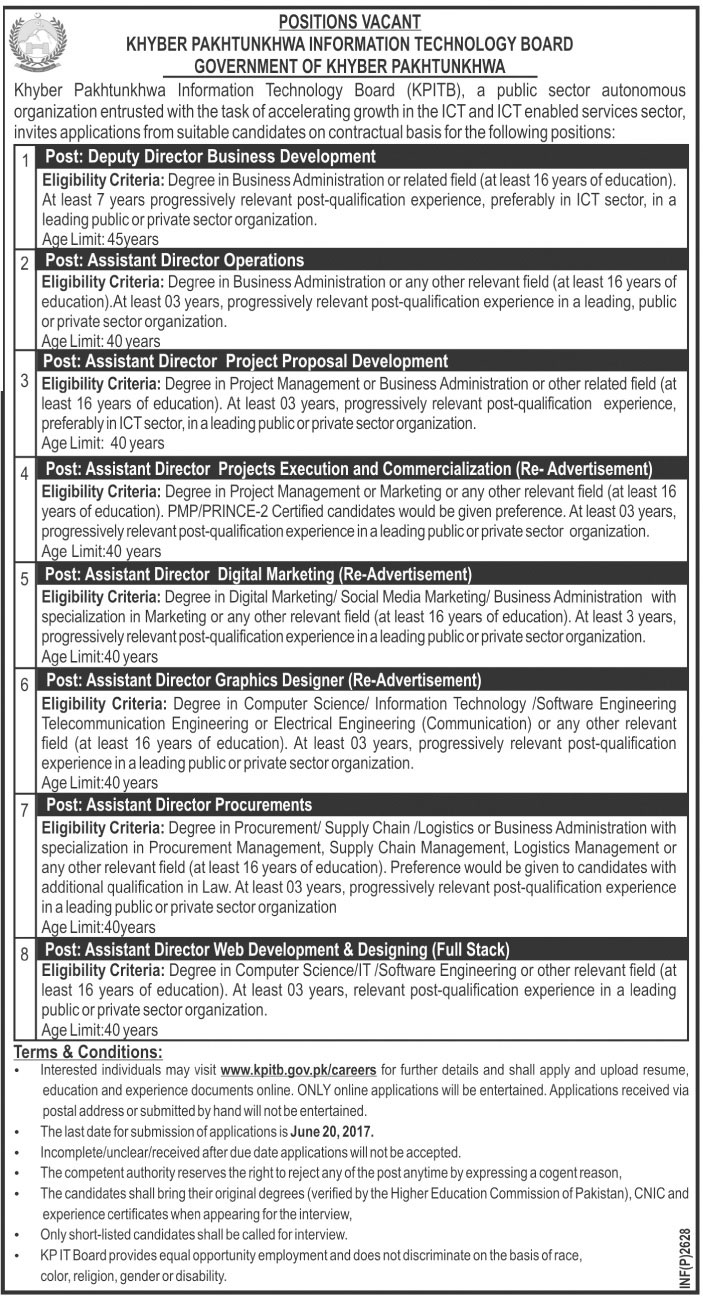 KPITB Jobs In Khyber Pakhtunkhwa Information Technology Board May 2017