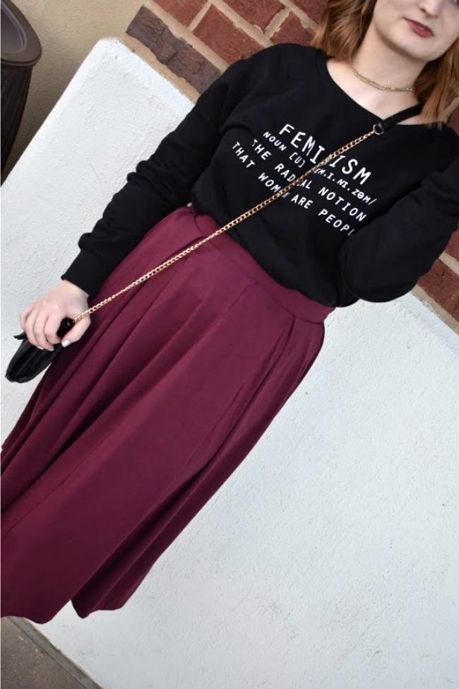 Petite Midi Skirt And Crossbody