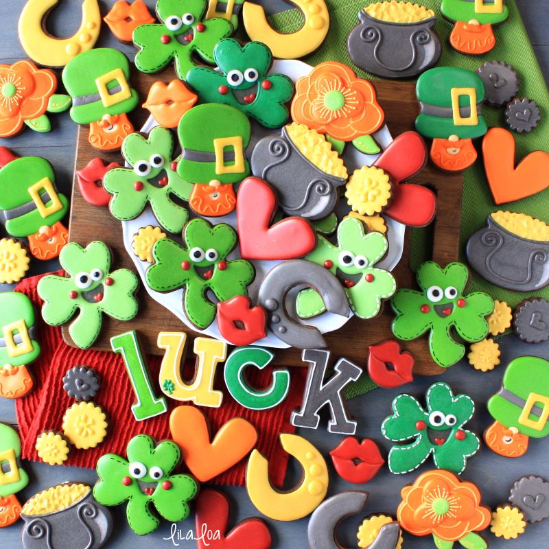 St. Patrick's Day chocolate decorated sugar cookies -- shamrocks, leprechauns, pots of gold
