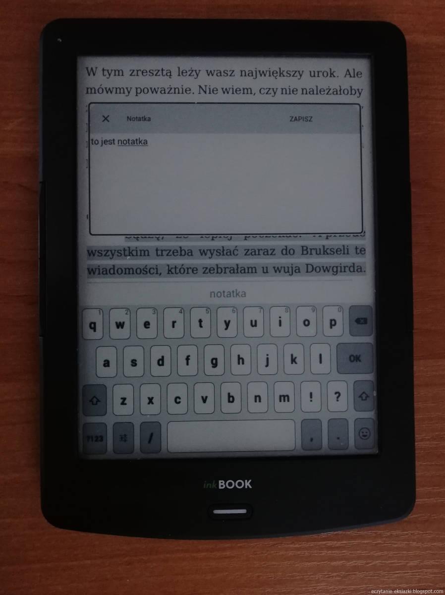 InkBOOK LUMOS – dodawanie notatki