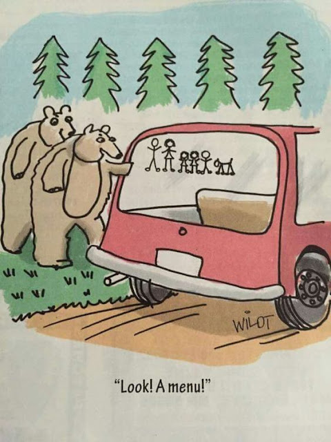 Funny Bear Menu Cartoon Joke Picture