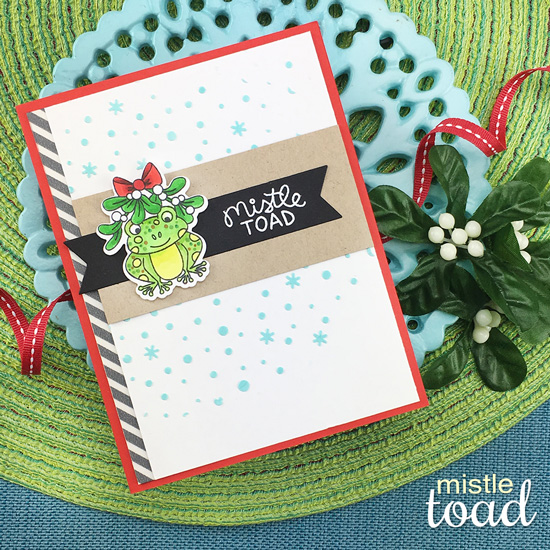 Toad Christmas Card by Jennifer Jackson | Mistle Toad Stamp Set and Petite Snow Stencil by Newton's Nook Designs #newtonsnook #handmade