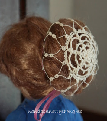 """Spider Web Snood"" © 1986 from Twinkling Stars and Small Tatted Gifts  tatted by Wanda Salmans"