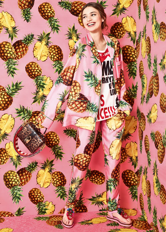 pineapple patterns, dolce & gabbana tropical city collection SS17