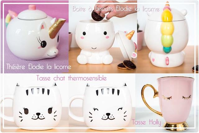 Théière et boite à biscuits Licorne, tasse chat thermosensible et tasse cils Cadeaux Folies