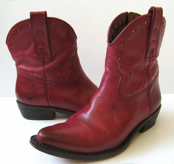 Lucky Brand Red Leather Cowboy Ankle Boots Womens Size 7 5
