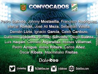 Convocados de Oriente Petrolero para enfrentar a Deportivo Cuenca - Copa Conmebol Sudamericana 2017 - DaleOoo Facebook, Twitter, Instagram Oriente Petrolero Oficial