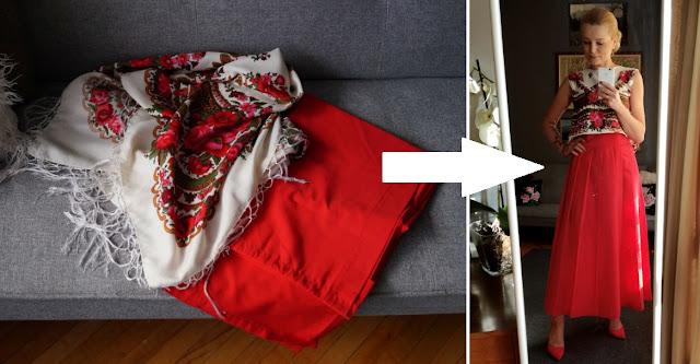 DIY: Czerwona, długa spódnica na zakładkę i crop top po góralsku, czyli stary obrus i góralska chusta w rękach Gąsienicowej.
