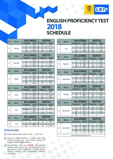 Jadwal Tes Toefl ITP LBI UI 2018