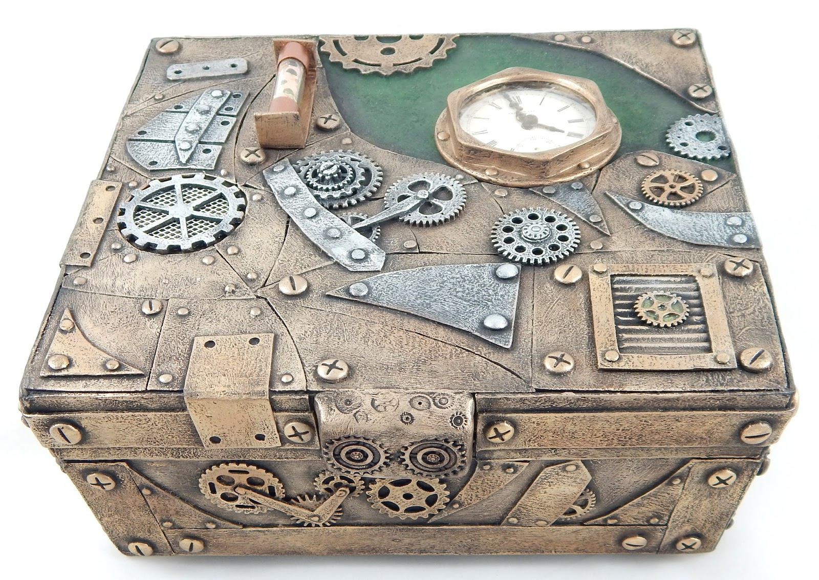 I ended up using a necklace chain and real screws as the lid holder; worked  like a charm. Hope you like my Steampunk keepsake box.