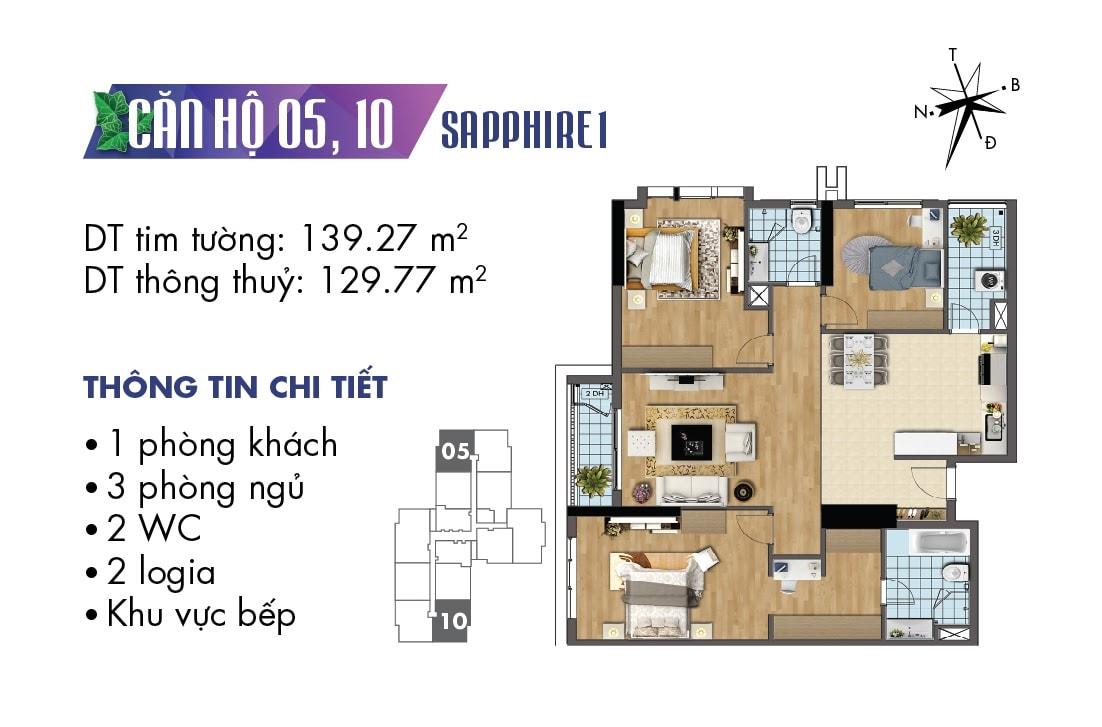 Mặt bằng căn hộ 05 và 10 Sapphire 1