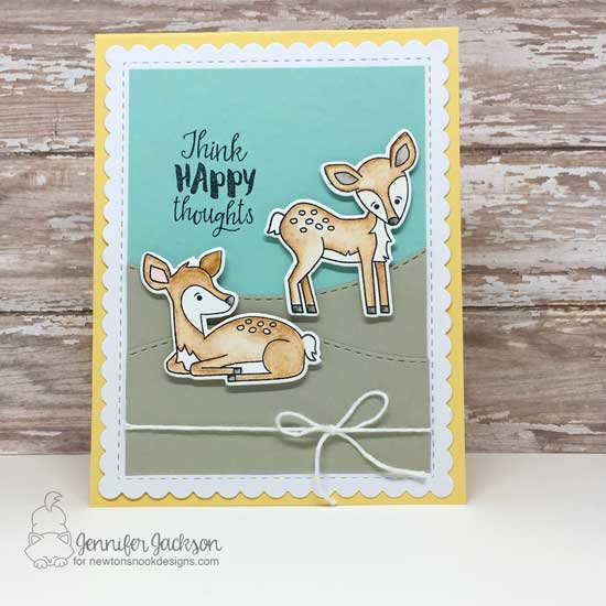 Layton's Legacy Blog Hop | Deer Card by Jennifer Jackson | Deer Friend and Happy Little Thoughts Stamp Sets by Newton's Nook Designs #newtonsnook #handmade