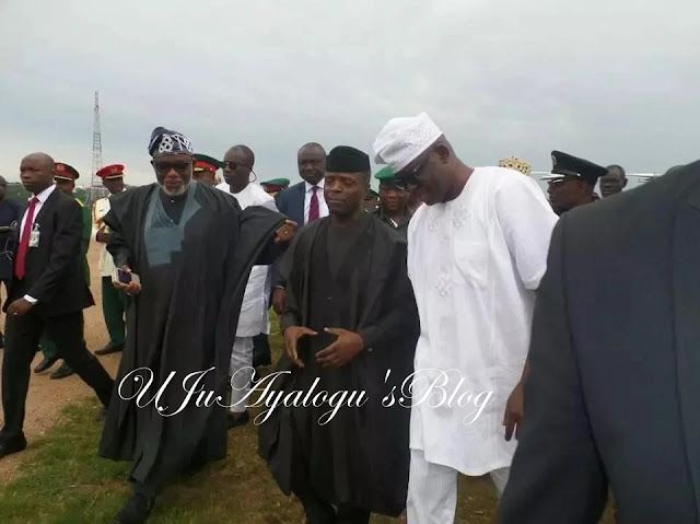 Osinbajo was in Ekiti to pay last respect to late General Adebayo.