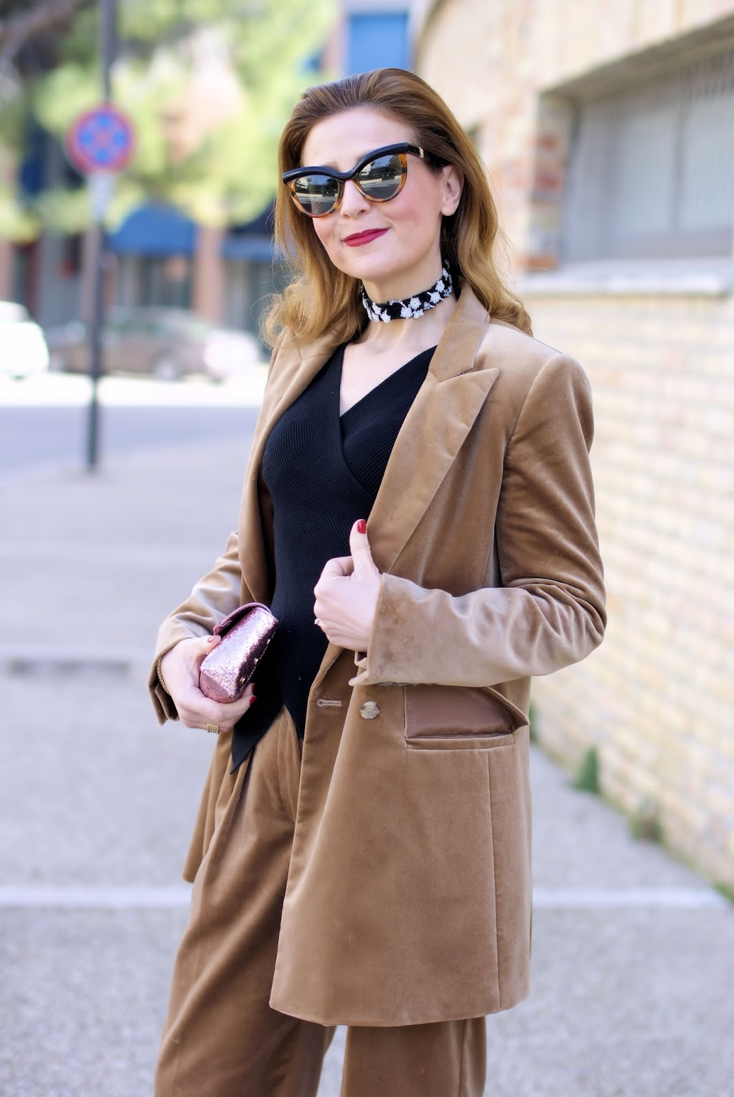 Max Mara velvet suit and RYinNYC lace choker on Fashion and Cookies fashion blog, fashion blogger style