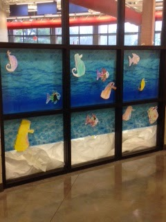 ocean sea horses window decorations for book fair Scholastic