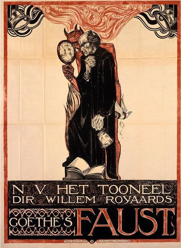Poster for Goethe's Faust. Dutch art nouveau. Prosecuting Satan. marchmatron.com