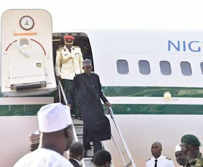 President Buhari Arrives at the Kaduna Airport from London