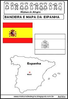 Bandeira e mapa da Espanha