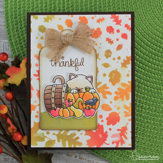 Be Thankful Card by Juliana Michaels featuring Falling Leaves Stencil and Autumn Newton Stamp Set by Newton's Nook Designs