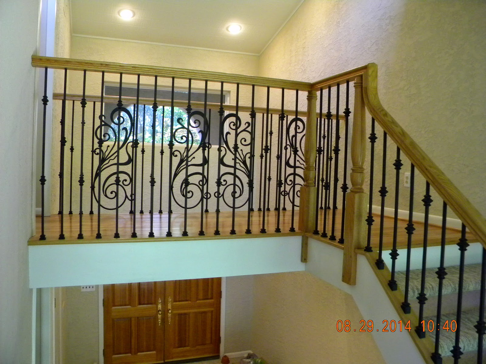 Wood Stairs And Rails And Iron Balusters: Custom Handrail