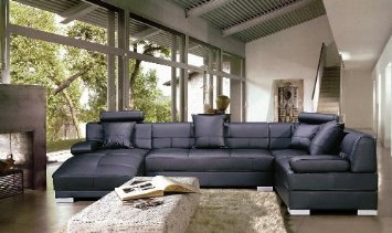 TOSH Furniture Modern Leather Furniture Row Couch Sofa