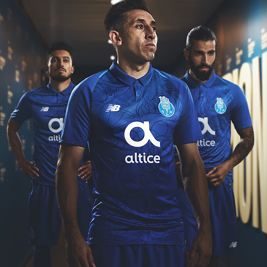 032ff4a2e33 The design, in his signature contrasting line-work and free hand geometric  pattern, shines throughout the New Balance FC Porto third jersey.
