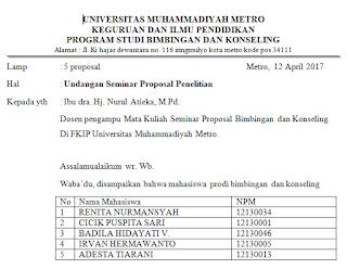 Surat Undangan Seminar Proposal Penelitian