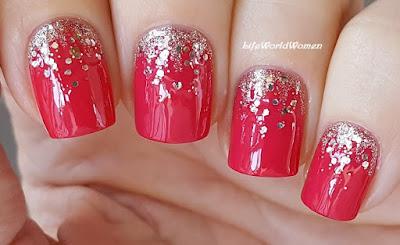 Life World Women Pinkish Red \u0026 Gold Elegant Nail Art Design