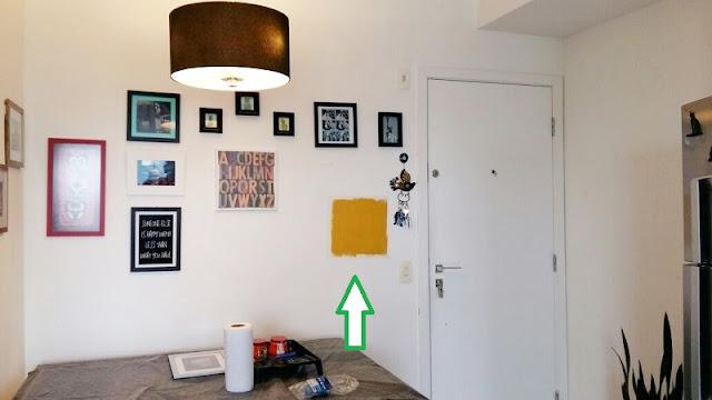 teste prévio da cor na parede