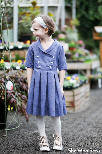 Pleated skirt, double breasted button front girls dress