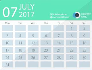 July 2017 timetable calendar