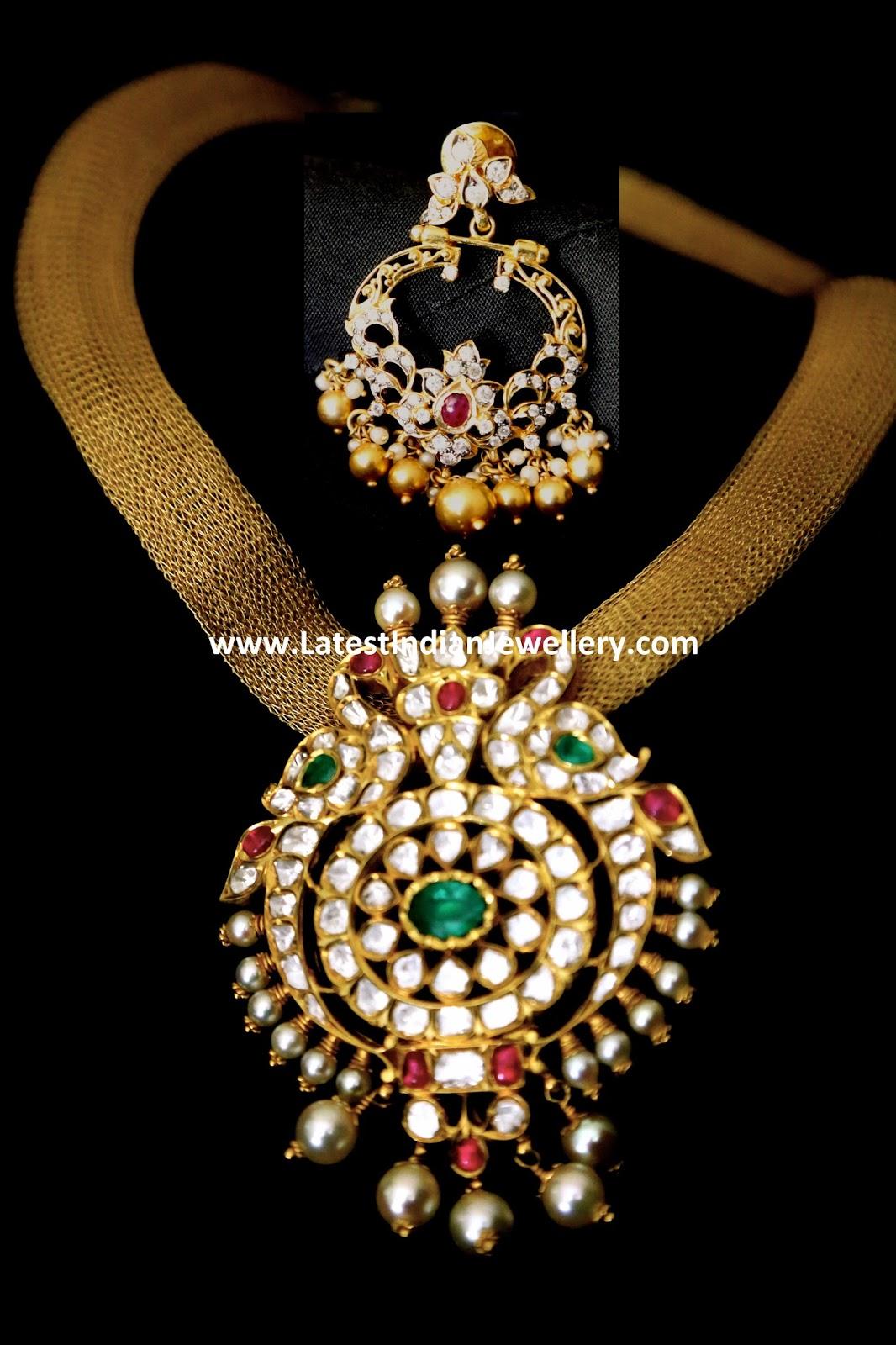 Peacock Diamond Necklace Chandbali