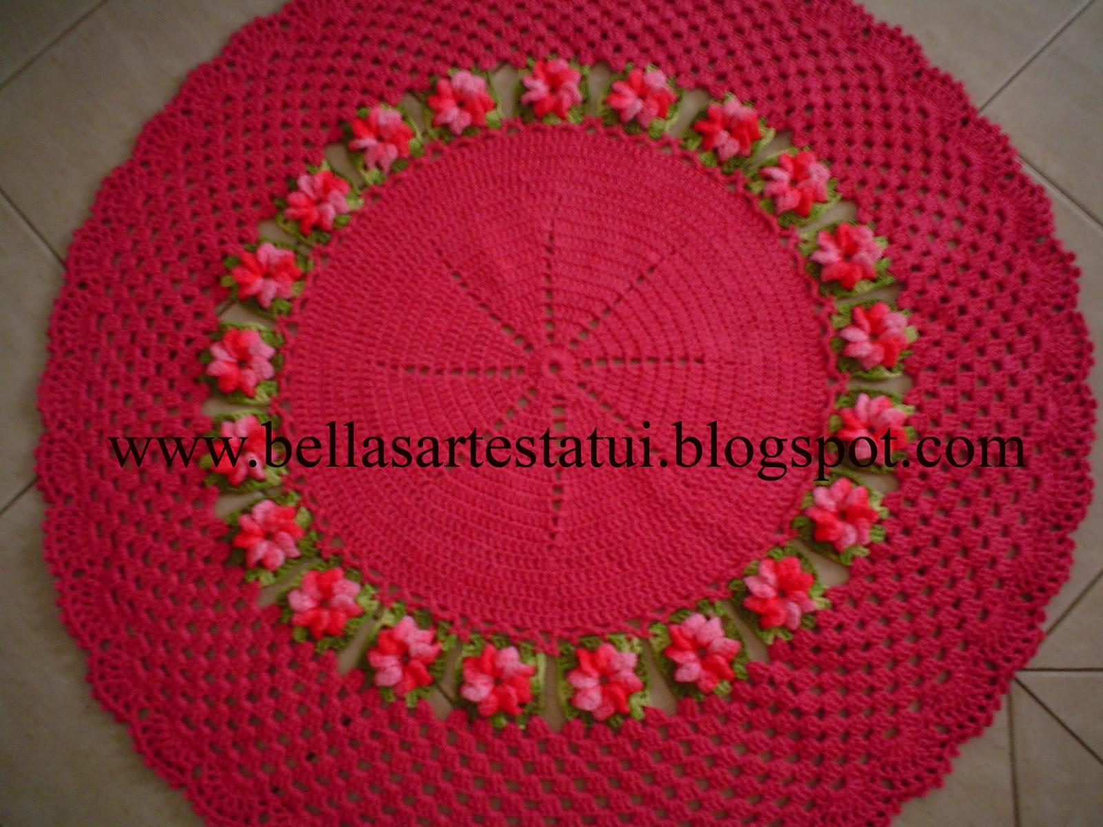 bellas artes tatui tapete croche pink com flores barbante. Black Bedroom Furniture Sets. Home Design Ideas