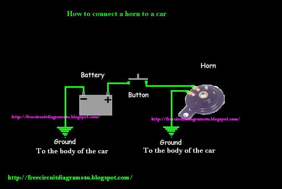 free circuit diagrams 4u how to connect a horn to a car. Black Bedroom Furniture Sets. Home Design Ideas