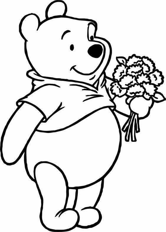 Tranh cho bé tô màu gấu Pooh 01
