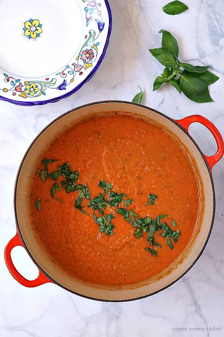 Easy vegan tomato soup made with fresh tomatoes and basil.
