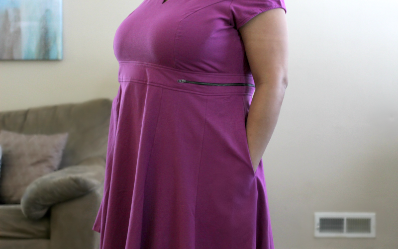side view of purple dress with pockets